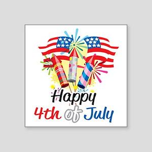 "Happy-4th-Fireworks Square Sticker 3"" x 3"""