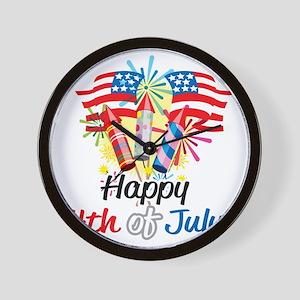 Happy-4th-Fireworks Wall Clock