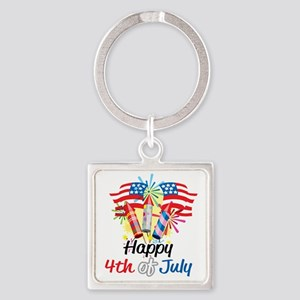 Happy-4th-Fireworks Square Keychain