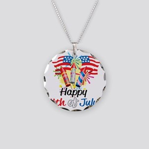 Happy-4th-Fireworks Necklace Circle Charm