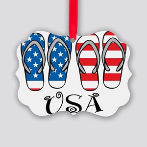 USA-Flip-Flops Picture Ornament