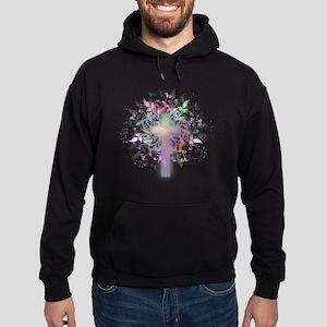 Rainbow Floral Cross Hoodie (dark)