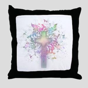 Rainbow Floral Cross Throw Pillow