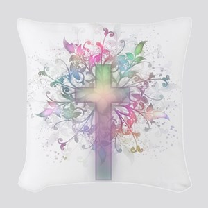 Rainbow Floral Cross Woven Throw Pillow