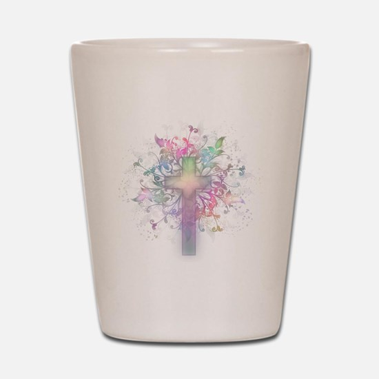 Rainbow Floral Cross Shot Glass