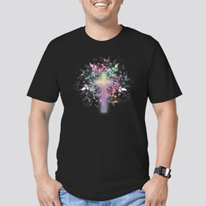 Rainbow Floral Cross Men's Fitted T-Shirt (dark)