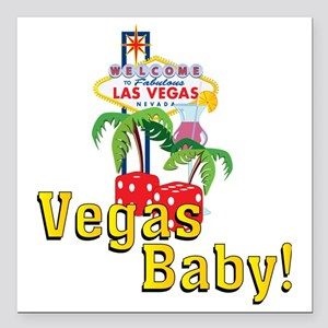 "vegas baby final Square Car Magnet 3"" x 3"""