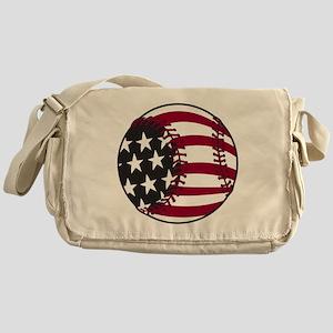 Flag Baseball Messenger Bag