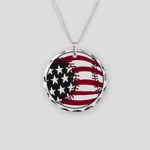 Flag Baseball Necklace Circle Charm