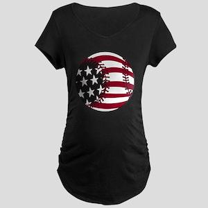 Flag Baseball Maternity Dark T-Shirt