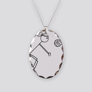 Volleyball girl clear Necklace Oval Charm