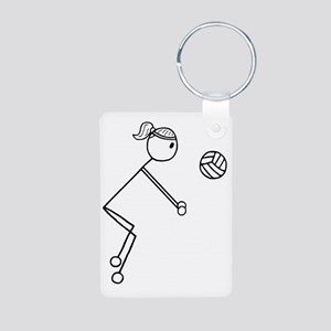 Volleyball girl clear1 Aluminum Photo Keychain
