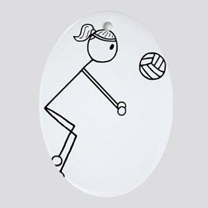 Volleyball girl clear1 Oval Ornament