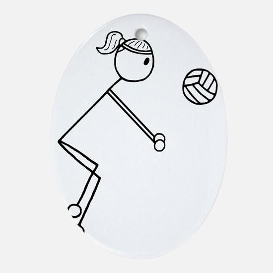 Volleyball girl clear1.gif Oval Ornament