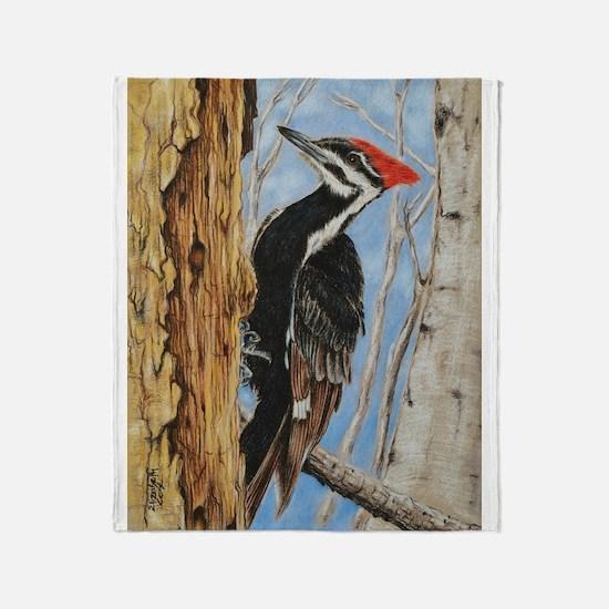 Cute Woodpecker Throw Blanket