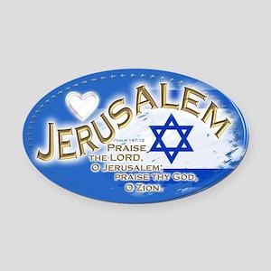 Jerusalem Oval Car Magnet