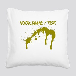 Gold Ink Splatter Square Canvas Pillow