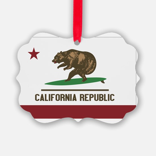 California Surfing Bear Flag Ornament