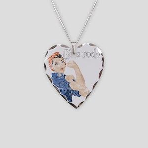 girls rock Necklace Heart Charm