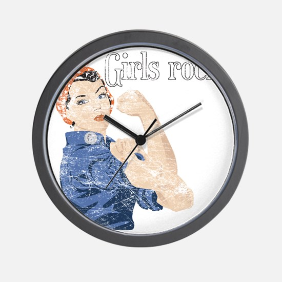girls rock Wall Clock