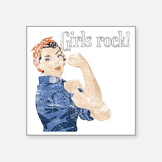 "girls rock Square Sticker 3"" x 3"""