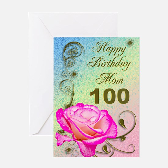100th birthday 100th birthday greeting cards cafepress 100th birthday card for mom elegant rose greeting bookmarktalkfo Images