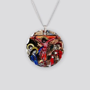 16x20_Jesus_Crucified Necklace Circle Charm