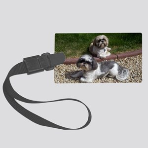 Puppies_outside Large Luggage Tag