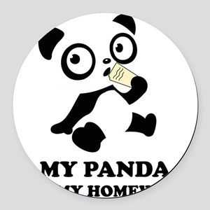 pandaHomeworkB Round Car Magnet