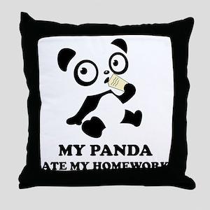 pandaHomeworkB Throw Pillow