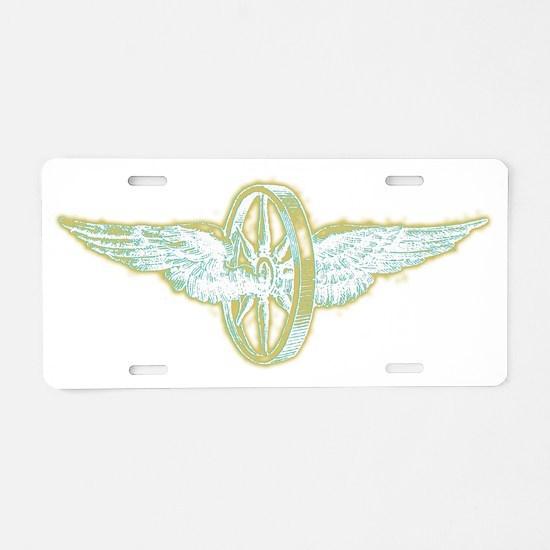 winged wheel for dark shirt Aluminum License Plate