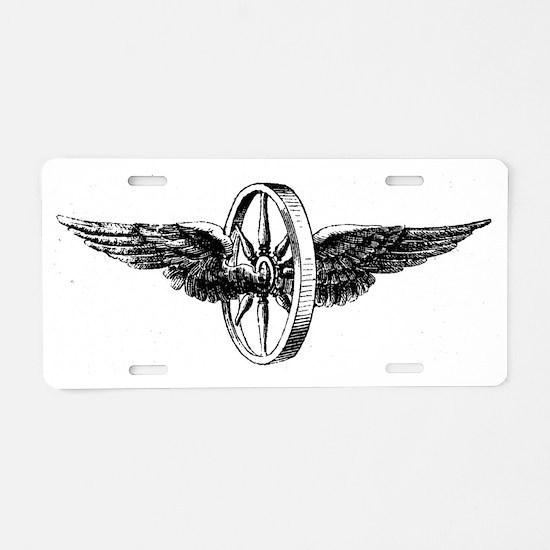 winged wheel - Black Aluminum License Plate