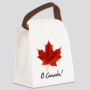 O_Canada_red_blackLetters copy Canvas Lunch Bag
