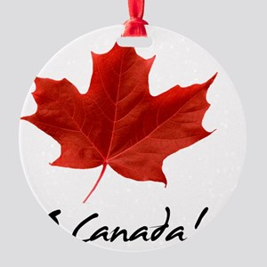 O_Canada_red_blackLetters copy Round Ornament