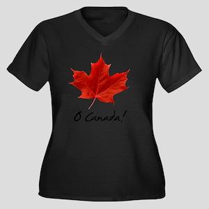 O_Canada_red Women's Plus Size Dark V-Neck T-Shirt