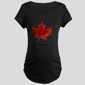 O_Canada_red_blackLetters c Maternity Dark T-Shirt