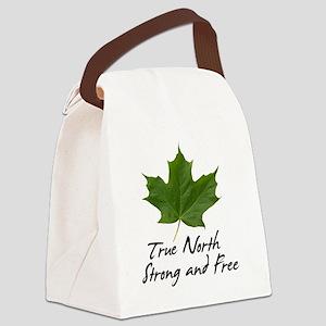 TrueNorth-greenLeaf-blackLetters  Canvas Lunch Bag