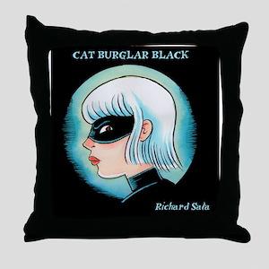 Cat Burglar Black Portrait Throw Pillow