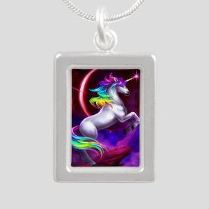 9x12_unicorndream Silver Portrait Necklace