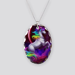 11x17_unicorndream Necklace Oval Charm