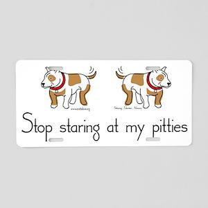 Stop_Staring_TShirt Aluminum License Plate
