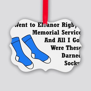 Darned Socks blktype Picture Ornament