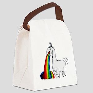 10x10_llama_pukerainbow Canvas Lunch Bag