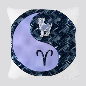 Blue Yin Yang Aries  Woven Throw Pillow