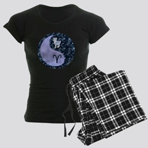 Blue Yin Yang Aries  Women's Dark Pajamas