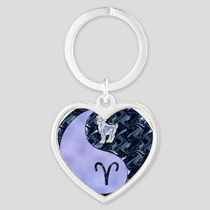 Blue Yin Yang Aries  Heart Keychain