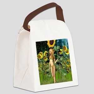 Sunflower Fairy with Summer Backg Canvas Lunch Bag