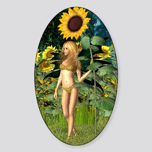 Sunflower Fairy with Summer Backgro Sticker (Oval)