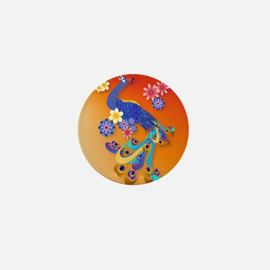 Fancy Peacock and Flowers_pillow Mini Button