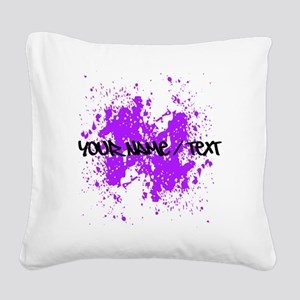 Purple Paint Splatter Square Canvas Pillow